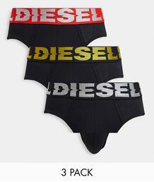 Набор из трех черных трусов с логотипом на широкой ленте -Черный цвет Diesel 11276323