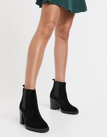 Черные замшевые ботинки на каблуке -Черный Steve Madden 10237972