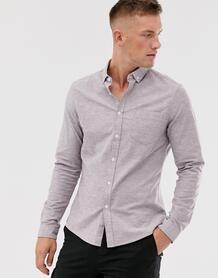 Приталенная повседневная оксфордская рубашка бордового меланжевого цвета -Красный ASOS DESIGN 8838184