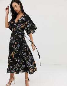 Платье миди с цветочным принтом и каскадными рукавами -Мульти Liquorish 8192331