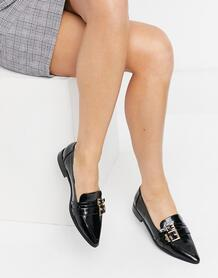 Черные лоферы с заостренным носком и пряжкой Mae-Черный цвет ASOS DESIGN 10807058