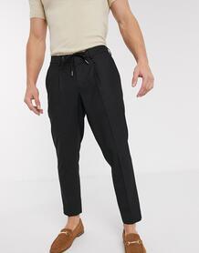 Черные узкие строгие брюки до щиколотки с затягивающимся шнурком на поясе -Черный цвет SELECTED 9369499