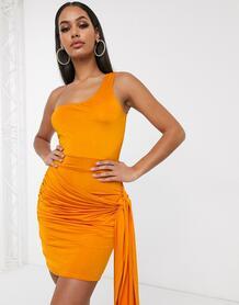 Оранжевое облегающее платье на одно плечо -Оранжевый цвет Femme Luxe 9549483