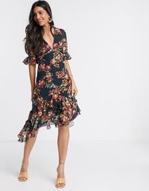 Платье миди с рукавами клеш и вырезом на спине -Черный цвет Hope & Ivy 9872128