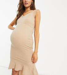 Серовато-бежевое облегающее платье соборками по краю Maternity-Розовый цвет Queen Bee 11472274