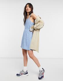 Платье-трапеция мини из мягкой джинсовой ткани с эффектом потертости -Голубой ASOS DESIGN 10978188