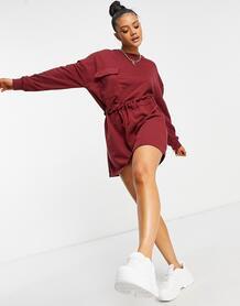 Бордовое платье-свитшот с карманом -Красный MISSGUIDED 11333636