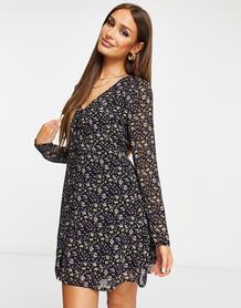 Чайное платье с длинными рукавами ицветочным принтом -Черный цвет MISSGUIDED 11394524