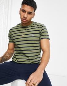 Темно-зеленая футболка в бретонскую полоску с логотипом -Зеленый цвет Original Penguin 11530508