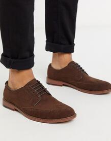 Коричневые туфли-броги из искусственной замши -Коричневый цвет ASOS DESIGN 9401535