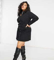 Черное джинсовое платье-рубашка приталенного кроя ASOS DESIGN Curve-Черный цвет Asos Curve 10867832
