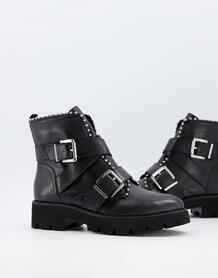Черные кожаные ботильоны на плоской подошве с пряжками Hoofy-Черный Steve Madden 11139792