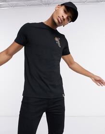 Черная футболка с вышитым принтом пейсли Marsham-Черный Pretty Green 10567093