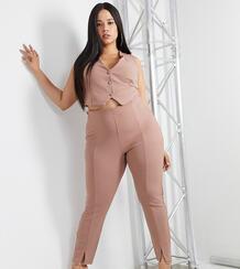 Розовые узкие брюки с разрезами ASOS DESIGN Curve-Розовый цвет Asos Curve 10131519