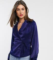 Атласная строгая блузка с завязкой спереди -Темно-синий Glamorous Tall 9283691