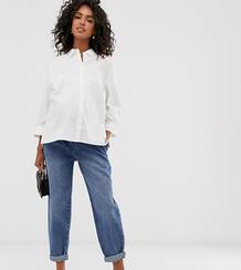 Суженные книзу выбеленные джинсы бойфренда в винтажном стиле, с отделочными швами и посадкой над животом ASOS DESIGN Maternity-Синий Asos Maternity 8622070