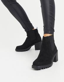 Черные ботинки из искусственной замши со вставками на массивном каблуке -Черный River Island 10220542