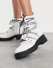 Белые массивные ботинки с цепями Temina-Белый Steve Madden 9861708