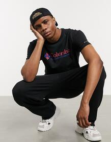 Черная базовая футболка с розовым логотипом CSC-Черный цвет Columbia 9678555
