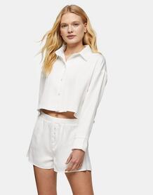 Пижама срубашкой и шортами цвета слоновой кости -Белый TOPSHOP 11822944