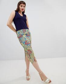 Кружевная юбка-карандаш с тропическим узором -Зеленый цвет River Island 7516695