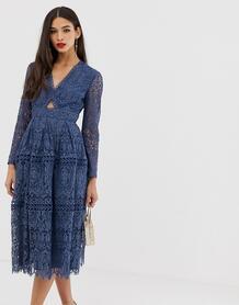Кружевное платье для выпускного с длинными рукавами и вырезами -Синий ASOS DESIGN 8049103