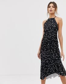 Платье миди в горошек с бретелью через шею и сборками -Мульти ASOS DESIGN 8080486