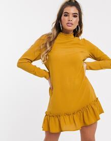 Свободное платье горчичного цвета с высоким воротом и заниженной талией -Желтый MISSGUIDED 9151470