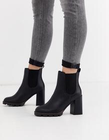 Черные ботинки челси на массивной подошве и каблуке -Черный цвет River Island 8755150