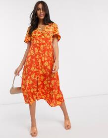 Платье миди с пуговицами и комбинированным цветочным принтом -Оранжевый Neon Rose 9346246