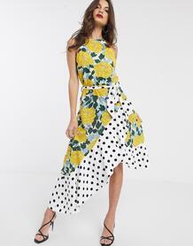 Асимметричное платье с узором в горошек и цветочным принтом Collection-Мульти Forever U 9351965