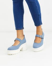 Туфли Мэри Джейн с джинсовым верхом -Синий ASOS DESIGN 9067156