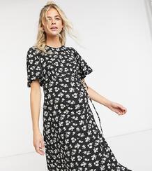 Черное платьемидис рукавамиклеш -Черный New Look Maternity 10442672