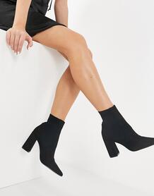 Черные ботильоны на каблуке из эластичной ткани Reesa-Черный цвет Steve Madden 10330972