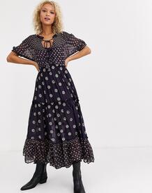 Платье макси с принтом -Фиолетовый Free People 9315316
