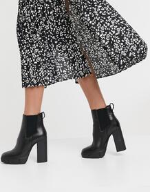 Черные кожаные ботинки-челси на каблуке Revised-Черный Steve Madden 10330958