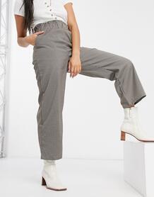 Черные брюки в клетку с завышенной талией от комплекта -Многоцветный VILA 11047382