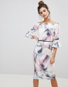 Платье с принтом и рукавами клеш -Мульти Little Mistress 7436518