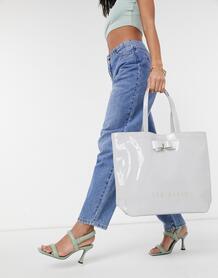Большая лакированная сумка-тоут серого цвета с фирменным бантиком Hanacon-Серый TedBaker 11271450