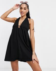 Трикотажное пляжное платье черного цвета с глубоким вырезом изавязками на спине -Черный цвет ASOS DESIGN 11549559