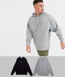 Набор из 2 oversize-худи (серый меланж/черный) -Мульти ASOS DESIGN 8975957