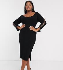 Платье миди в рубчик со шнуровкой и V-образным вырезом ASOS DESIGN Curve-Черный Asos Curve 9029953