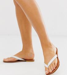 Белые кожаные шлепанцы для широкой стопы Florence-Белый ASOS DESIGN 8409545