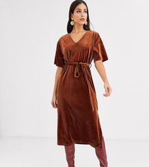 Бархатное платье миди с завязкой на талии -Красный Glamorous Tall 8930674