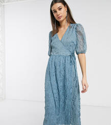 Фактурное платье мидакси с объемными рукавами и запахом -Синий Glamorous Tall 9283697