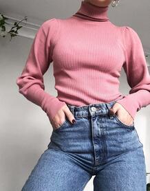 Пыльно-розовый джемпер в рубчик с высоким воротом ASOS DESIGN 10424385