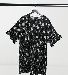 Черное суперсвободное платье с цветочным принтом и широкими рукавами с оборками ASOS DESIGN Curve-Черный Asos Curve 10750709