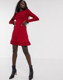 Красное платье в горошек с оборкой по нижнему краю -Красный Miss Selfridge 9484302