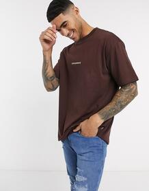 Коричневая oversized-футболка с кантом -Коричневый Converse 9531456