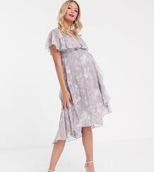 Серое платье миди с кейпом, асимметричным подолом и цветочным принтом ASOS DESIGN Maternity-Мульти Asos Maternity 8957295